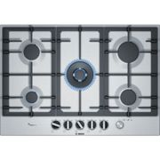 Bosch PCQ7A5M90 - Piano Cottura a Gas, 5 Fuochi, 75 cm, Inox Disponibilita' immediata