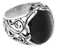etNox hard and heavy Big Black Ornament Anello - multicolored S