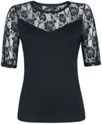 Forplay Lace Tee Donna-T-Shirt - nero 3XL