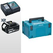 MAKITA MA4-BT0390 KIT ENERGY LI-ION 18 V COMPOSTO DA: 2 BATTERIE + DC18RC + MAKPAC