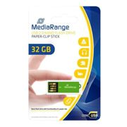 MediaRange USB nano flash drive stick paper-clip VERDE, 32GB - MR977