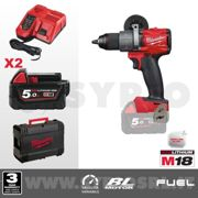 MILWAUKEE TRAPANO A PERCUSSIONE 18V FUEL M18 FPD2-502X + 2 BATTERIE M18 5AH + CARICABATTERIE + VALIGETTA HEAVY DUTY - 4933464264