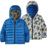 Patagonia Baby Reversible Down Sweater Hoody Mr. Badger Dyno White 21 - Piumino - Blu/bianco [Taglia : 3 ans] 3 ans