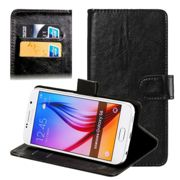 Smart Case Alcatel One Touch Idol 2 S (6050 / 6050Y) Cover a portafoglio Custodia a libro Flip Case Flip Wallet Cover nero